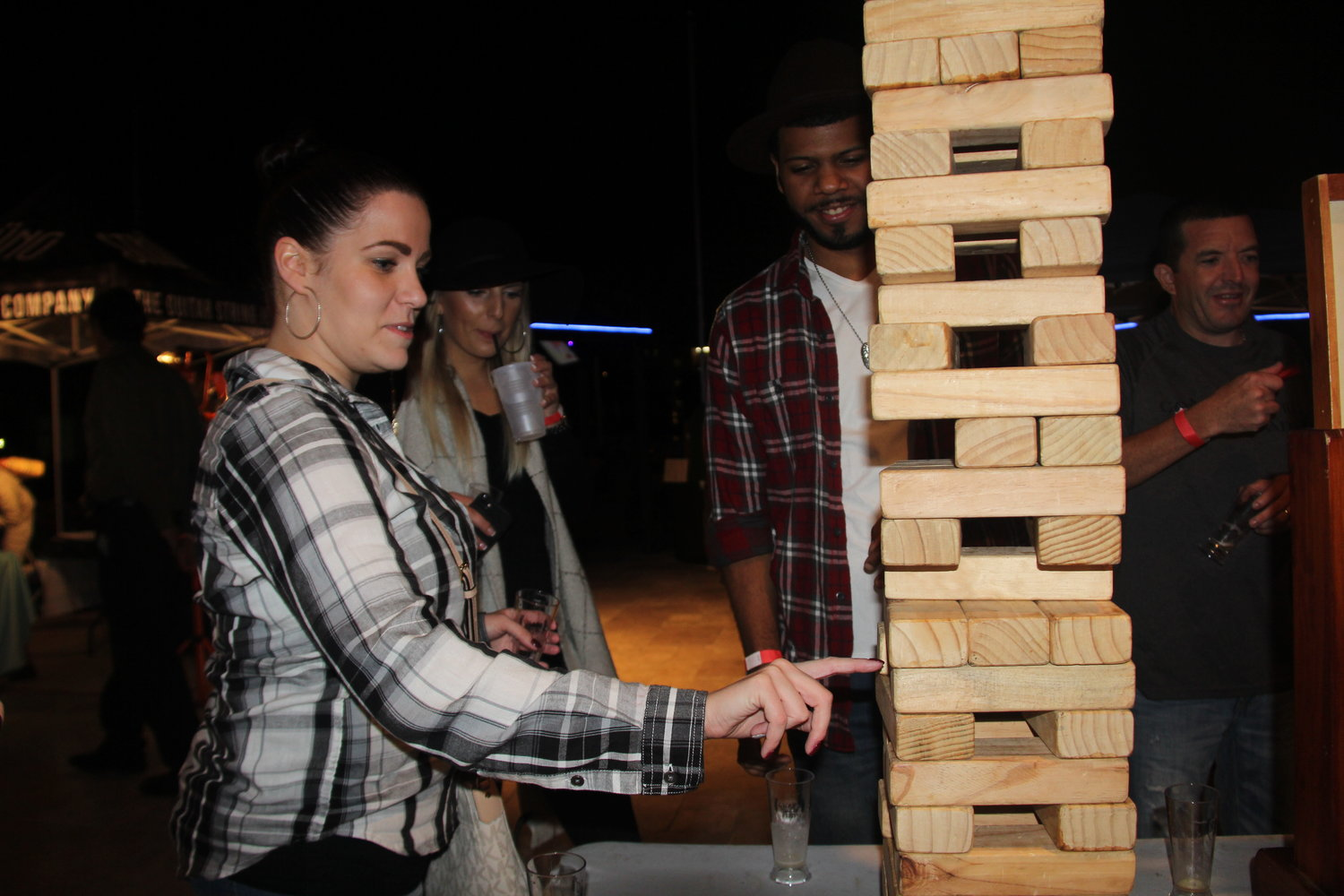 Stephani Drayton, from Brooklyn, played Jumbo Jenga.