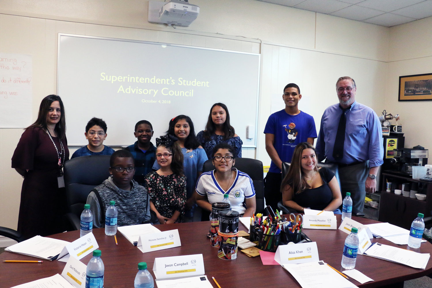 West Hempstead School District Superintendent Daniel Rehman and Assistant Superintendent Dina Reilly met with members of the Superintendent's Student Advisory Council on Oct. 4.