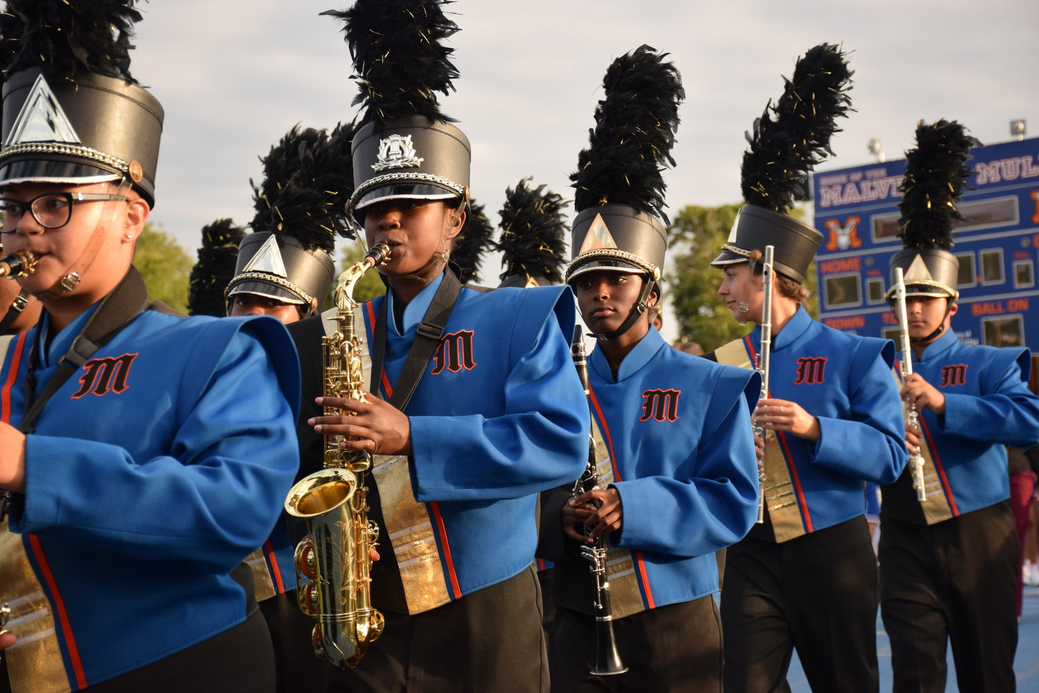 The Pride of Malverne Marching Band lined up to perform during Malverne High School's Homecoming parade on Oct. 5.