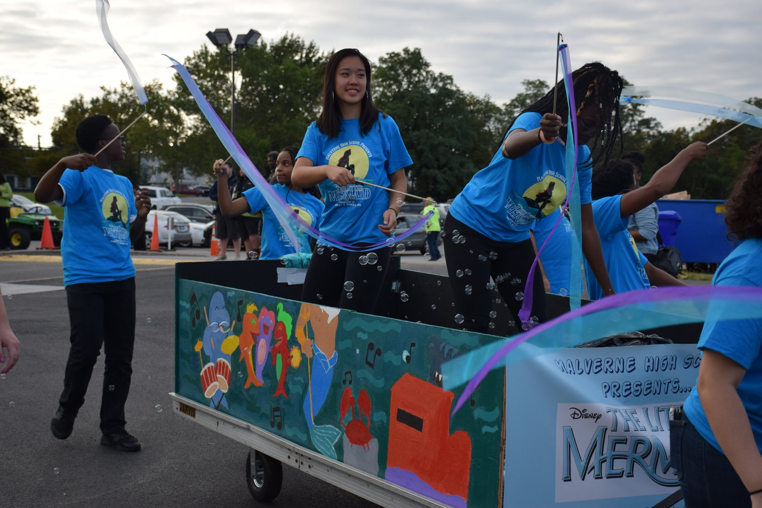 "One of the floats featured the high school's upcoming musical production of, ""The Little Mermaid."""