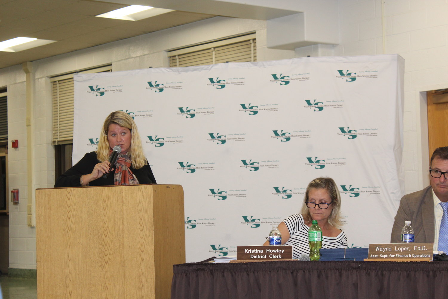 Lori Lang spoke about the need for after-school busing for private-school students at the Central High School District's Oct. 9 Board of Education meeting.