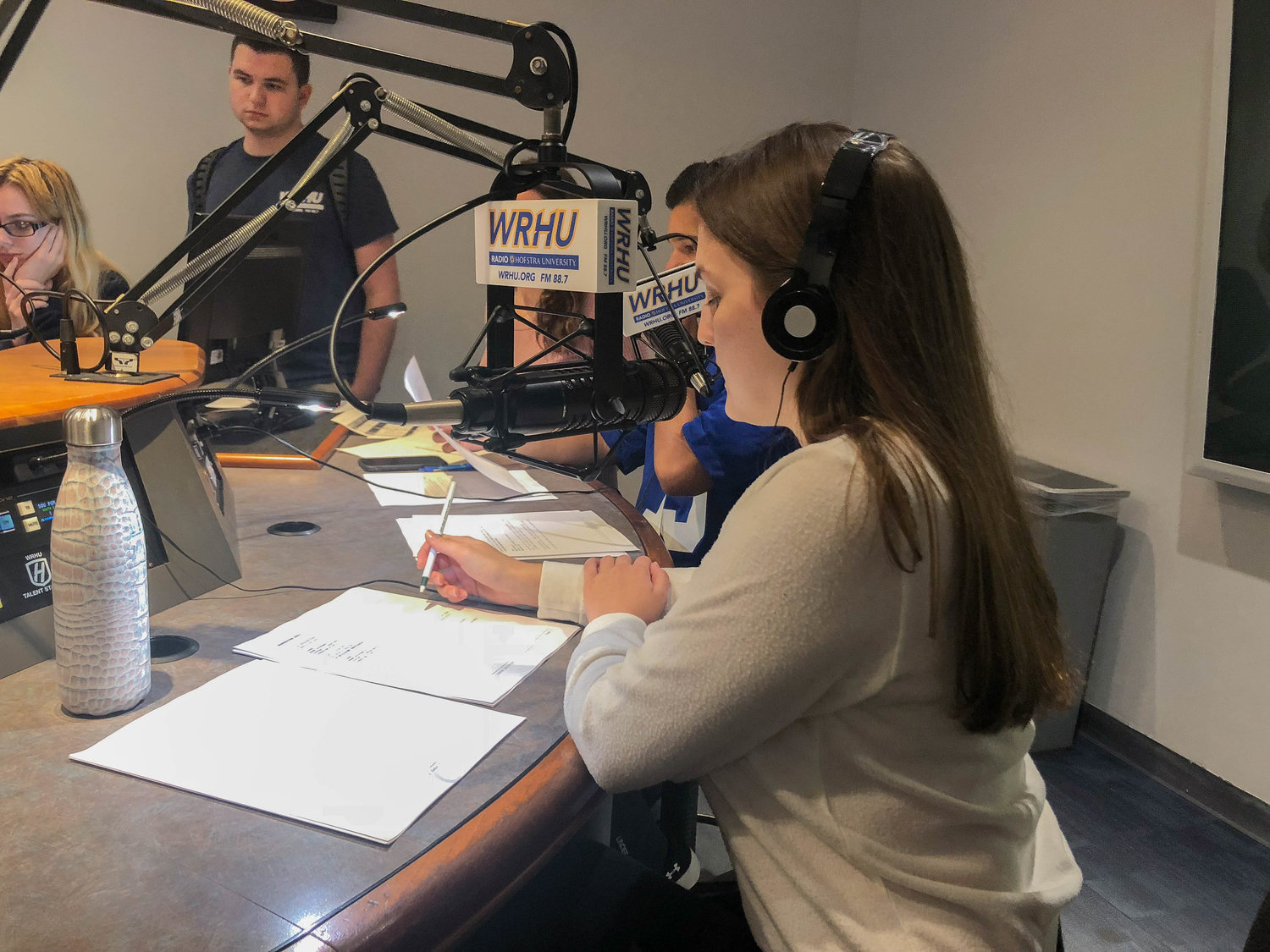 Students can participate in a number of different talk shows at the station, including Hofstra Morning Wake Up Call, Newsline and The Locker Room.