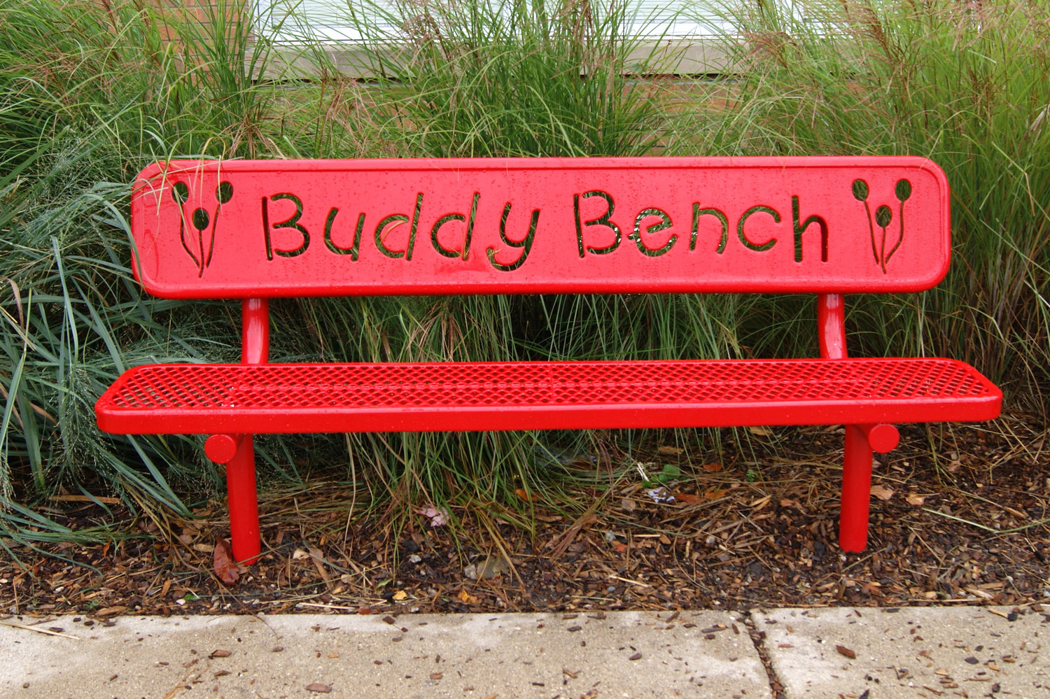 The buddy bench at HAFTR's Early Childhood Center is a place where children can make friends with fellow students.