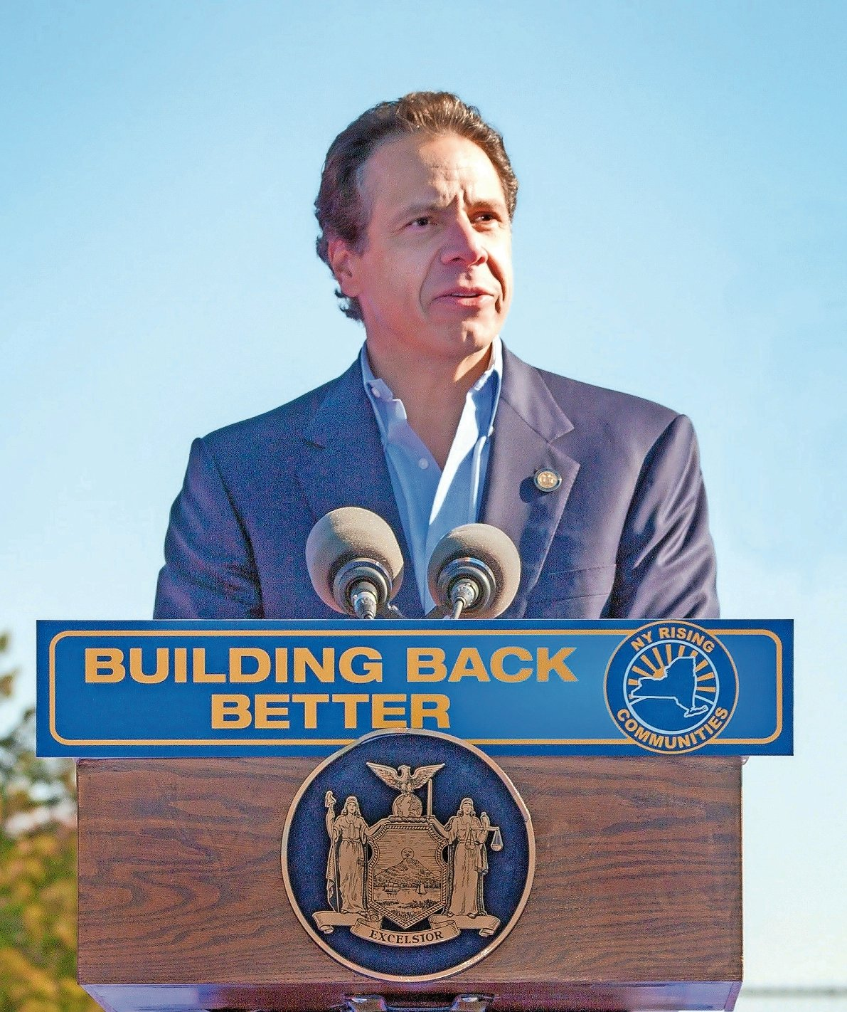Gov. Andrew Cuomo at a press conference in Long Beach in 2013, when he announced plans to protect the city's industrial district.