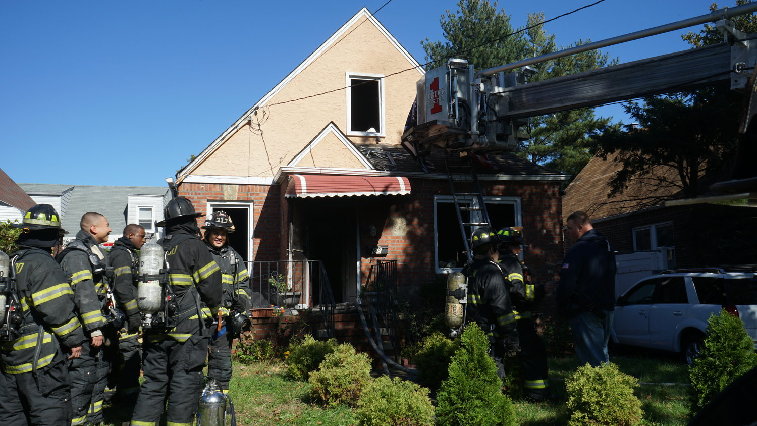 Valley Stream firefighters were on the scene at a house fire on Alden Avenue on Oct. 18.