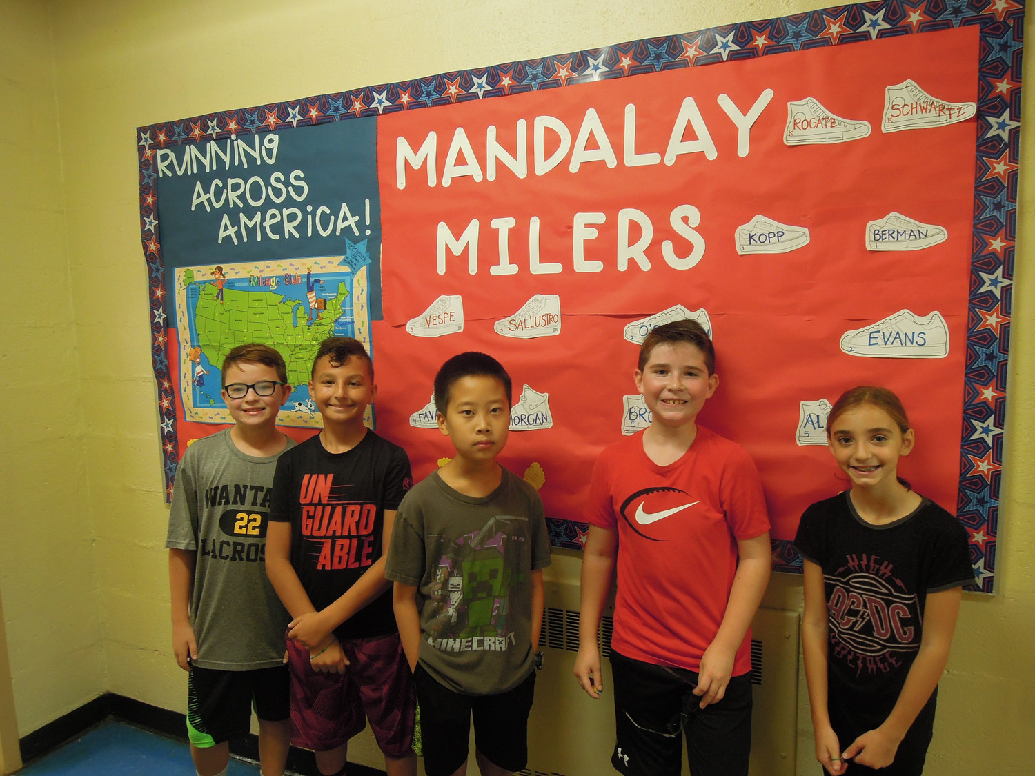 "Runners, from left, John Bloomfield, Andrew Breslin, Ethan Mei, Shane Adde and Hara Parazis won ""toe tokens"" for completing another mile on their journey to Hollywood."