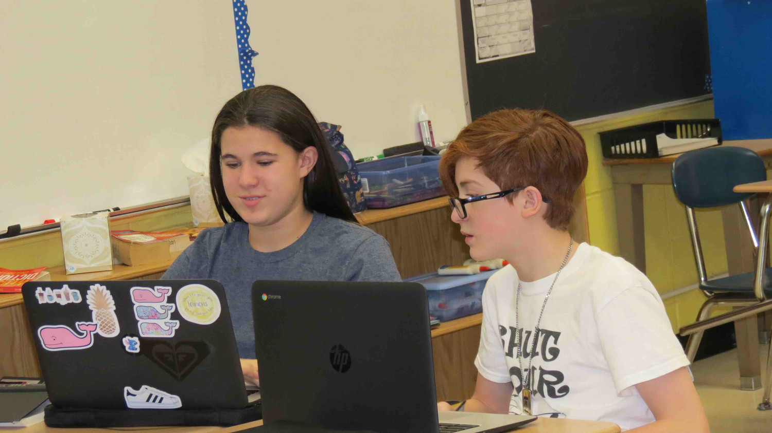 Long Beach Middle School students worked on assignments on their Google Chromebooks last year.
