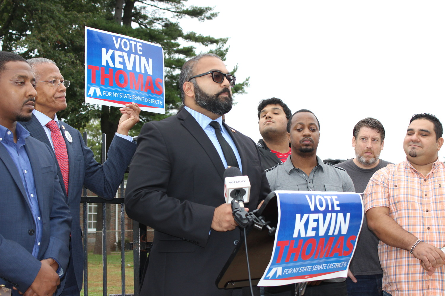Kevin Thomas, who is running for the state's 6th Senate District, announced on Oct. 8 in front of Barrack Obama Elementary School in Hempstead his goal to bring state aid to underfunded schools on Long Island.