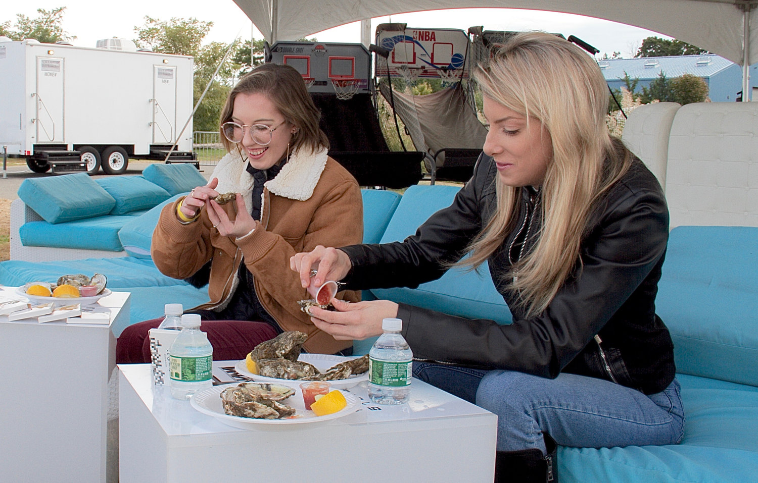 Kristin Walters and Kayla Henley enjoyed oysters under the VIP tent.
