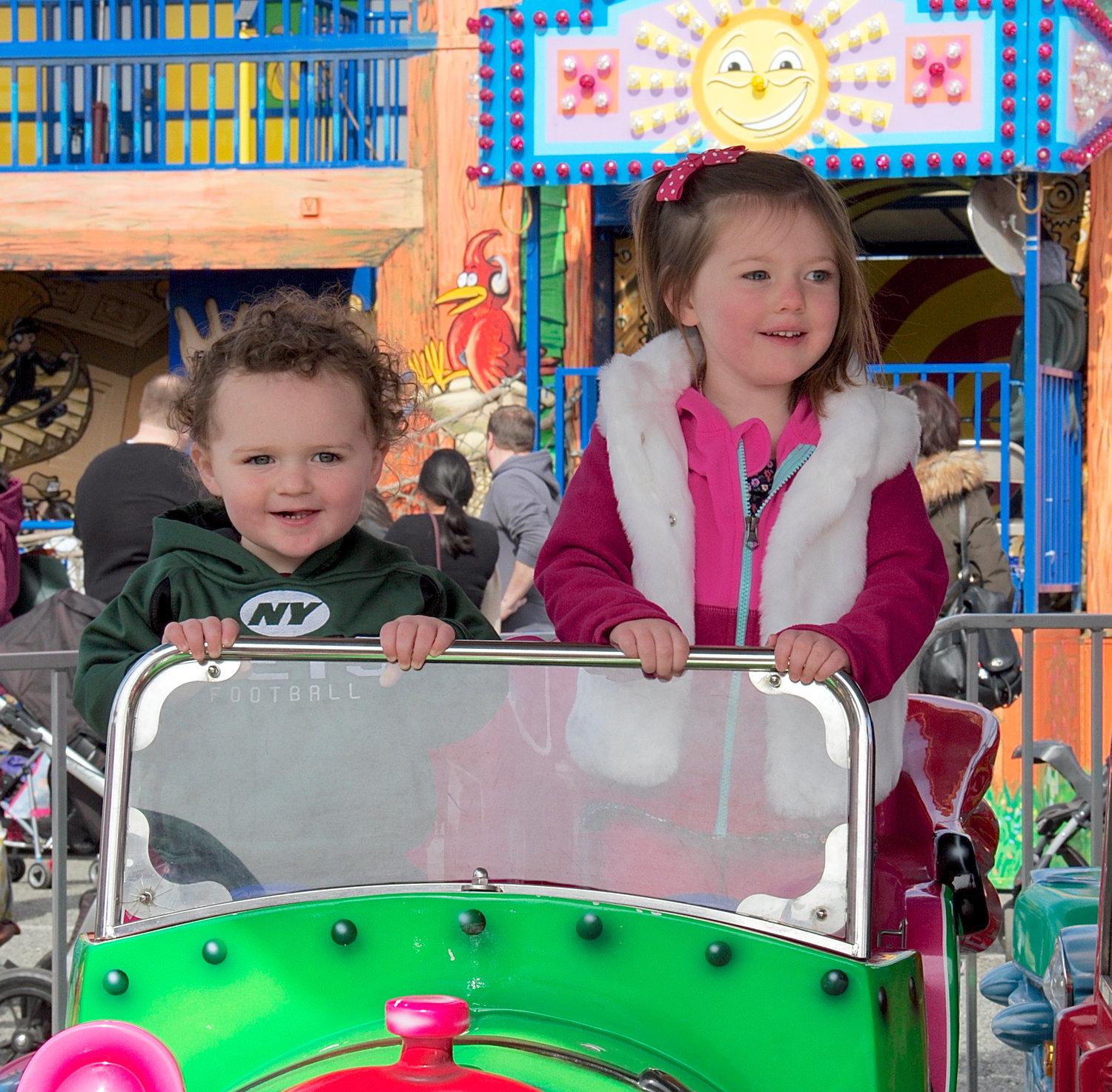 Luke Turbert, 2, and sister Charlotte, 4, took a ride together.