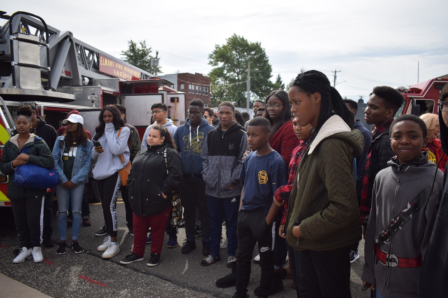 More than 40students from Elmont Memorial and Sewanhaka high schools gathered on School Road to learn about the Elmont Fire Department during a recruitment open house on Oct. 14.