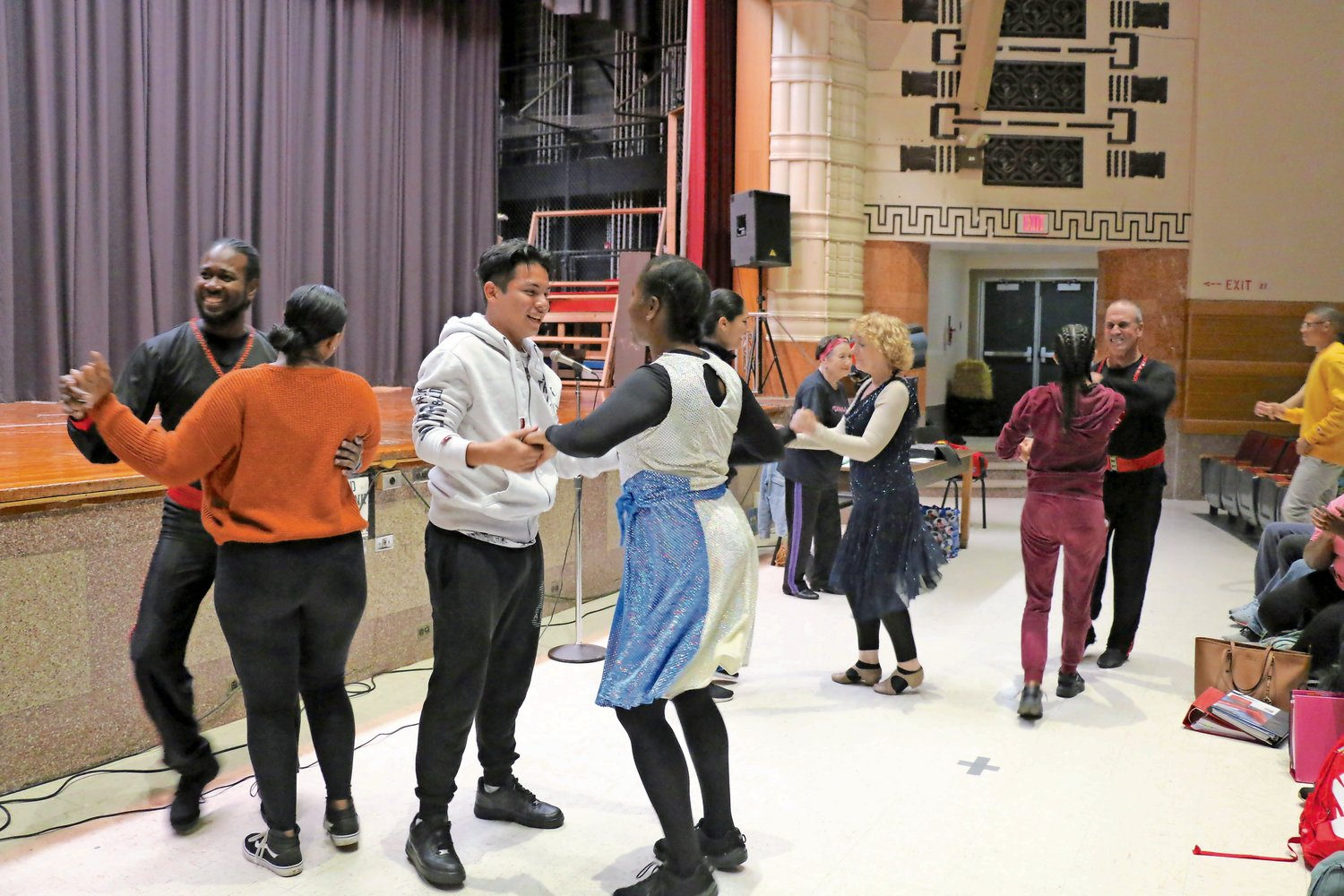 Students got to practice some of their new dance moves with the company,