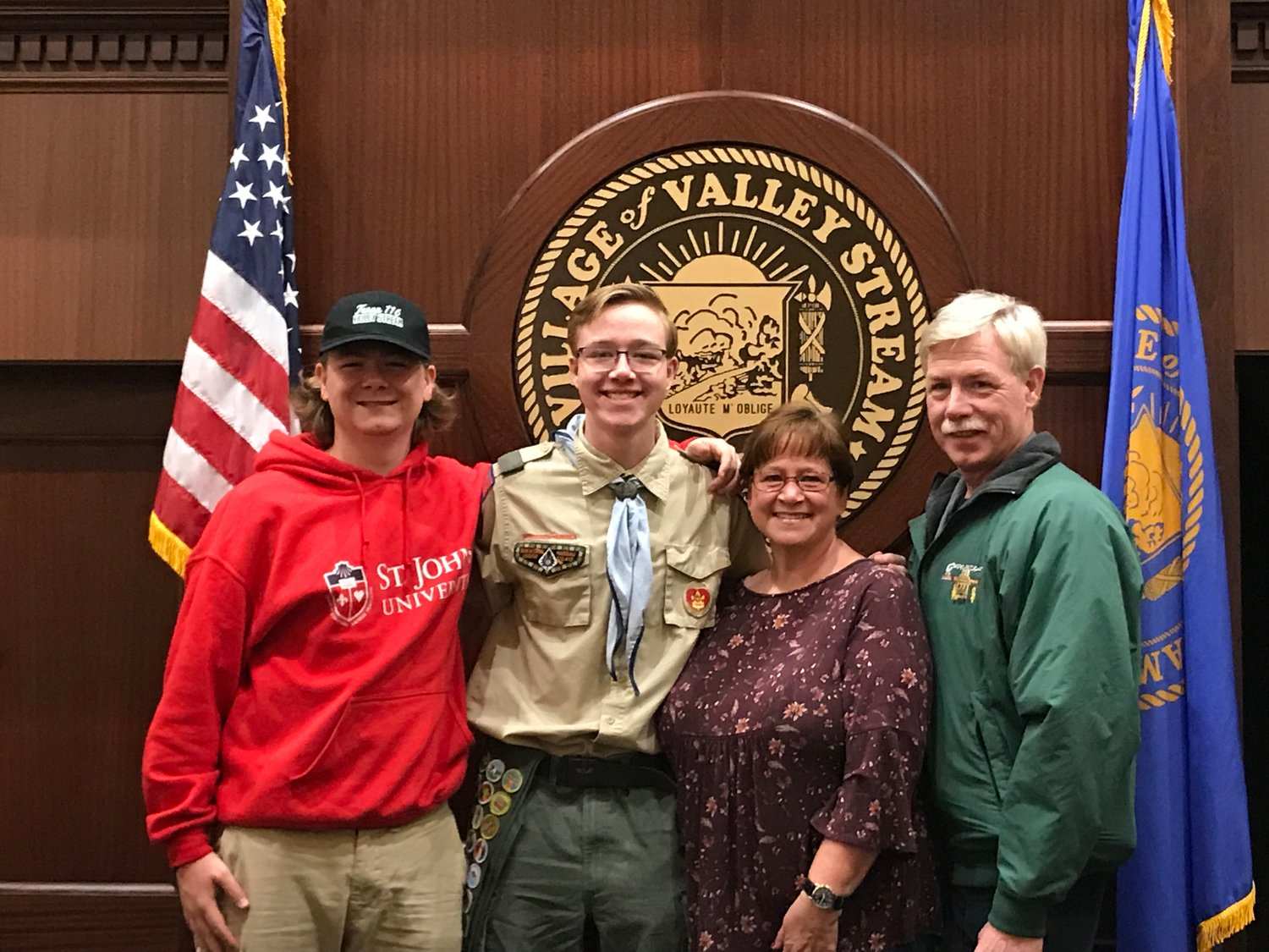 Matthew Donoghue, second from left, became an Eagle Scout on Oct. 8. He is pictured here with Kevin Donoghue, Dianne Donoghue and Ed Donoghue.