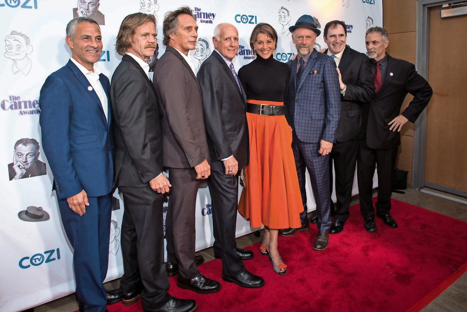 Last year's Carney Awards featured William H. Macy, second from left, William Fichtner, Brian Carney, Wendie Malick, Xander Berkeley and Richard Kind. Island Park brothers David and Jim Katz, far left and far right, created the event and brought it to the Broad Stage in Santa Monica, Calif.