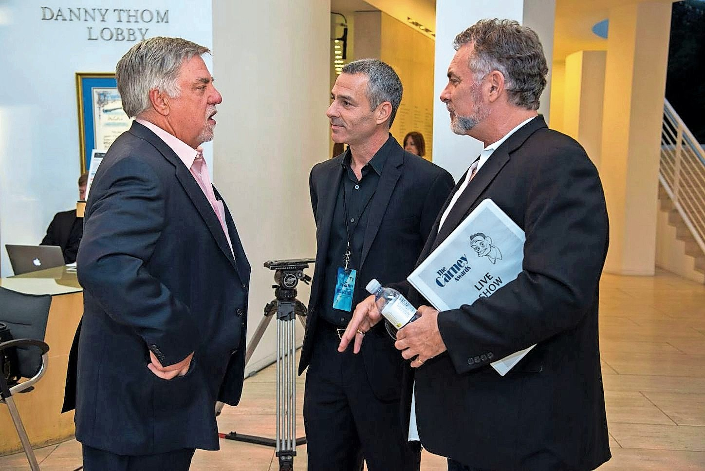 David and Jim Katz, center and right, spoke with actor Bruce McGill, who was honored at a previous ceremony of theirs.