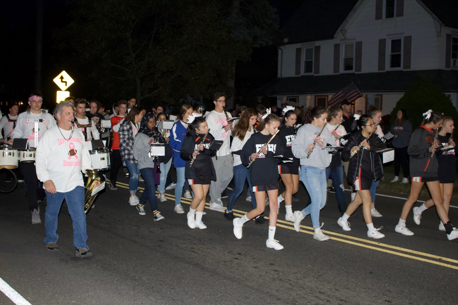 East Rockaway's high school marching band was a part of the Homecoming parade festivities. The events were a two-day celebration.