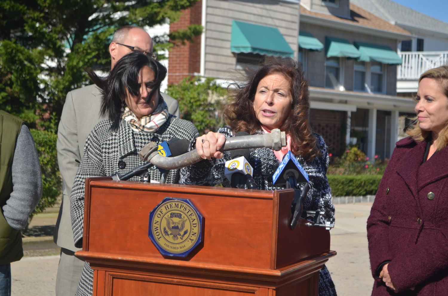 Adrienne Esposito, executive director of Citizens Campaign for the Environment, was joined by Town of Hempstead officials on Oct. 18 to announce that more than 500 lead water pipes in Point Lookout would be replaced with copper ones.