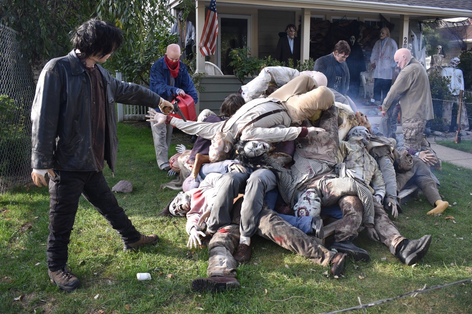 The Living Characters In A Halloween Display At 200 N Forest Ave