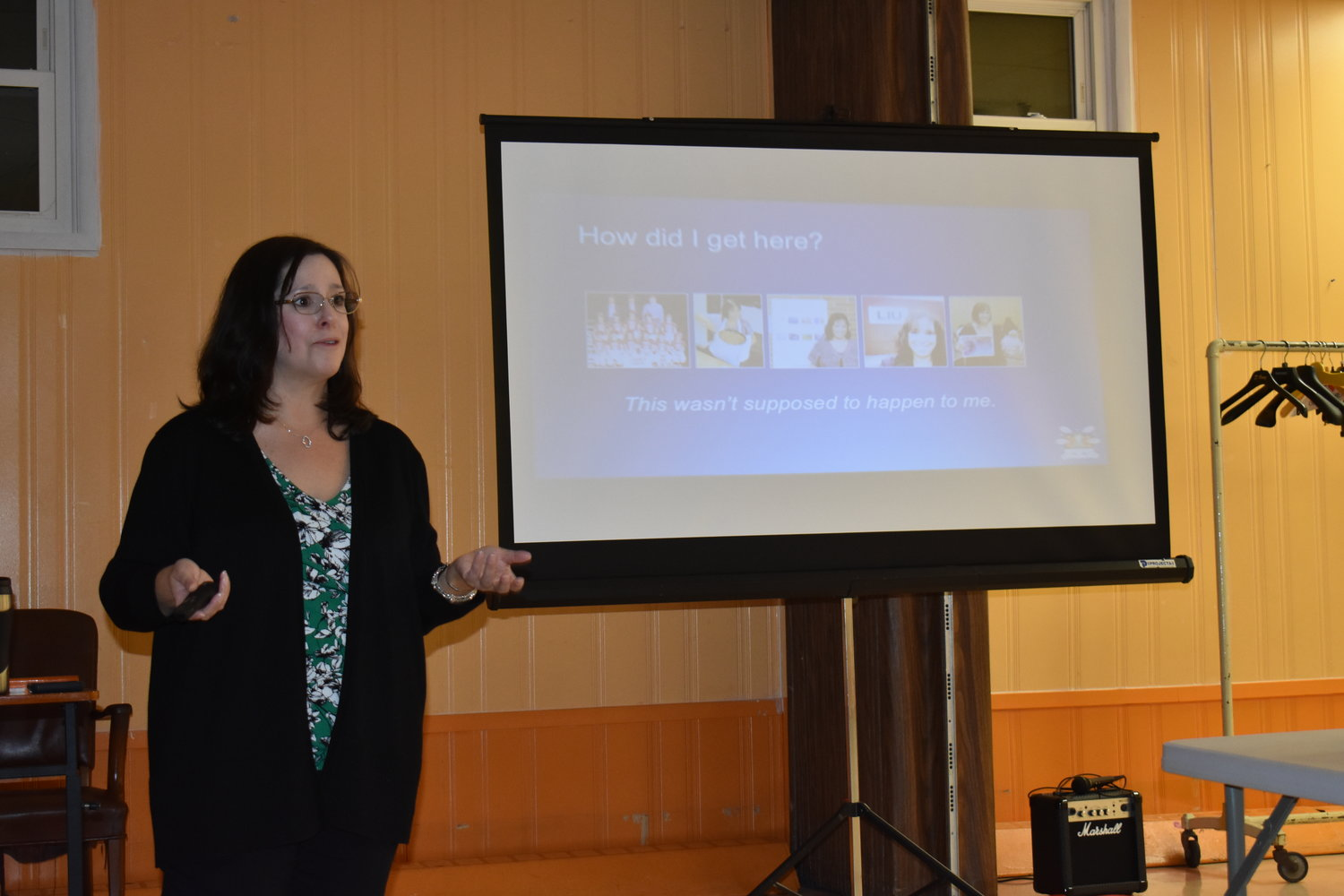 Using her own experience, Valley Stream resident Lisa-Michelle Kucharz discussed how to handle online harassment to both children and adults, at the Oct. 17 JCC cyberbullying workshop.