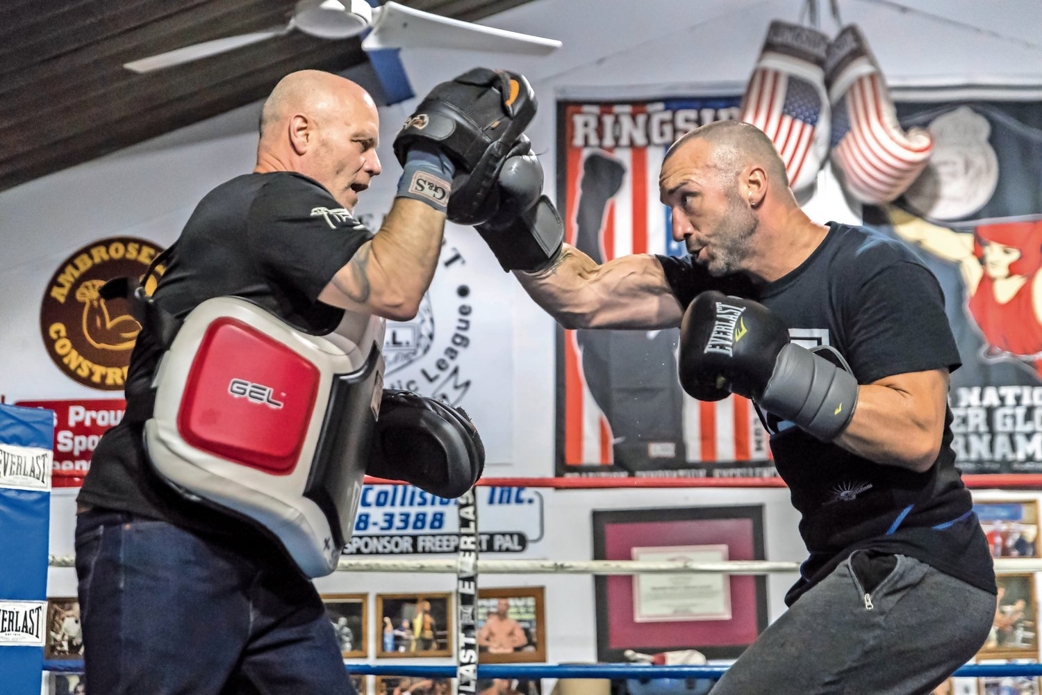 "Professional boxer and Long Beach's own ""Irish"" Seanie Monaghan, right, sparred with his trainer, Joe Higgins, at the Freeport PAL on Oct. 19. On Nov. 3, the light heavyweight said, his career will be on the line when he faces Sullivan Barrera in the main event at Brooklyn's Aviator Sports and Events Center."