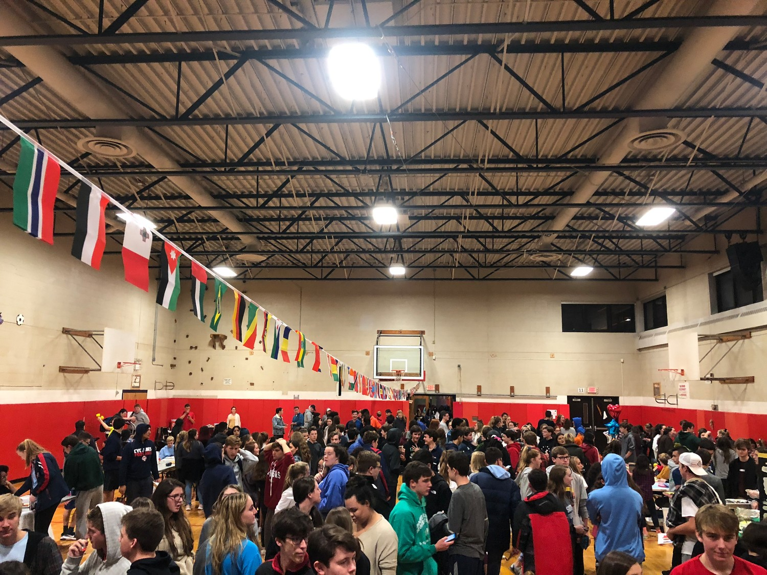Students, parents and faculty gathered under national flags for South Side High School's first Culture Fair on Oct. 22.