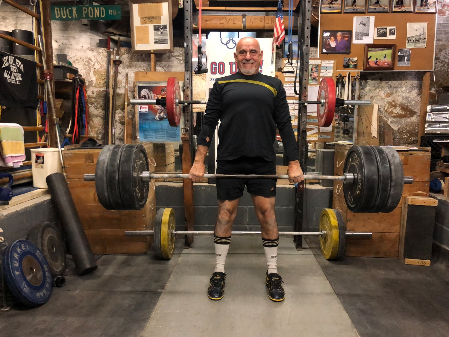 Richard Landry, 71, of Glen Cove, did a dead lift in his home gym.