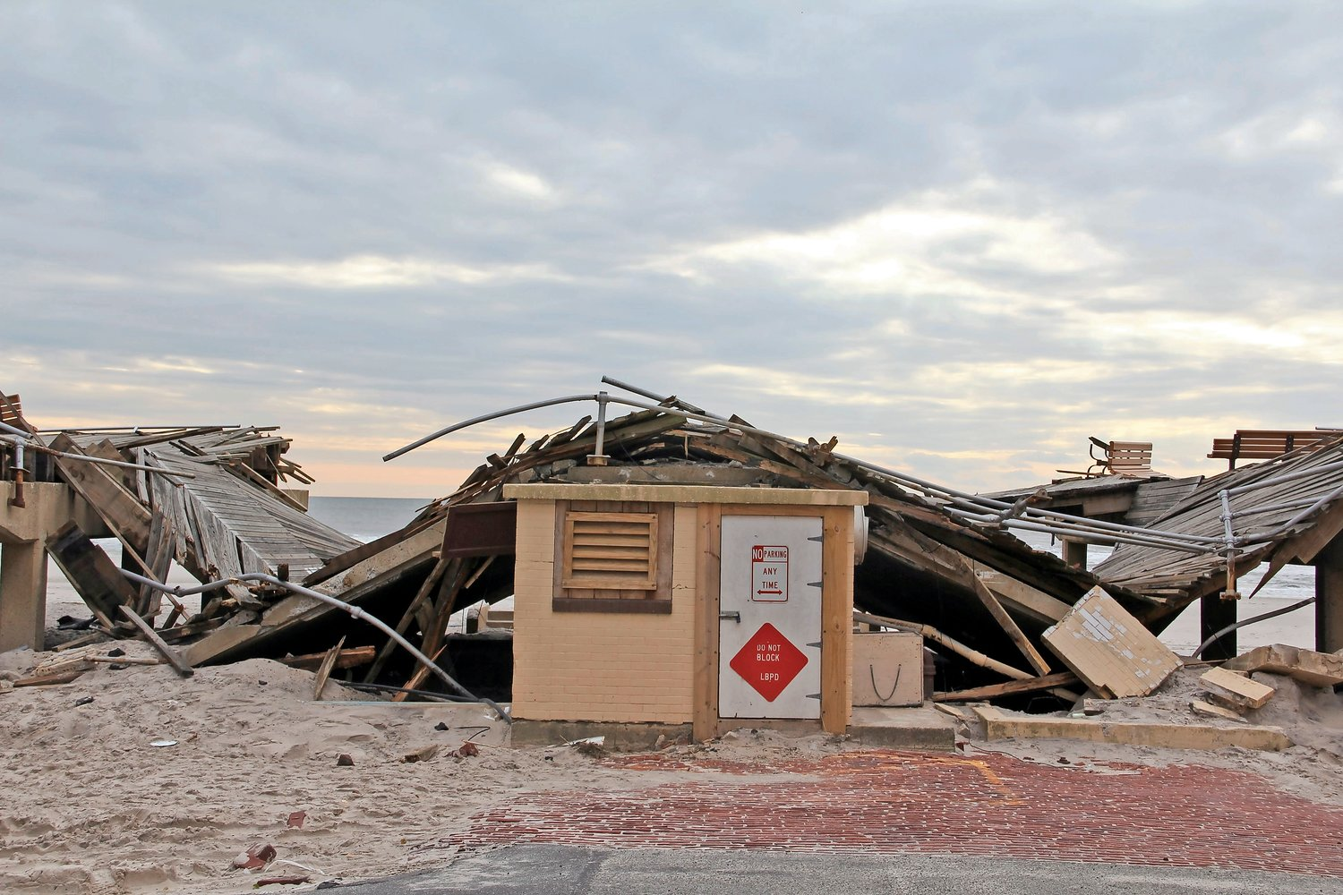 officials noted the city's recovery in the six years since Hurricane Sandy, including the reconstruction of the 2.2-mile boardwalk, pictured which was destroyed in the storm.