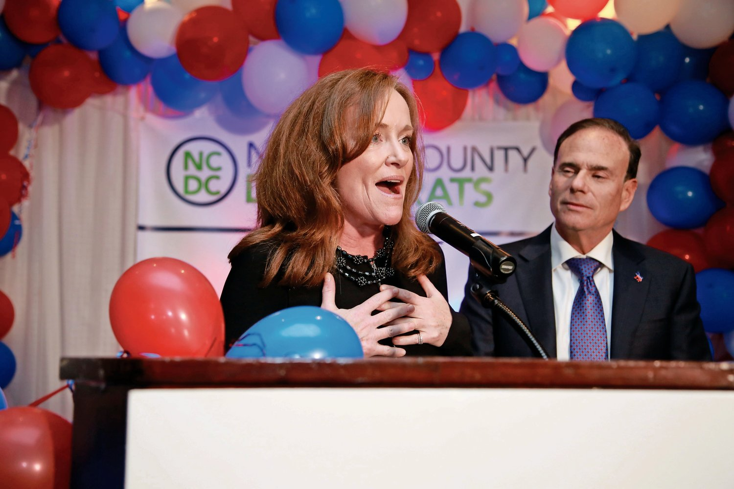 Incumbent Democratic Rep. Kathleen Rice declared victory early in the evening on Tuesday in her 4th Congressional District race against Republican Ameer Benno.