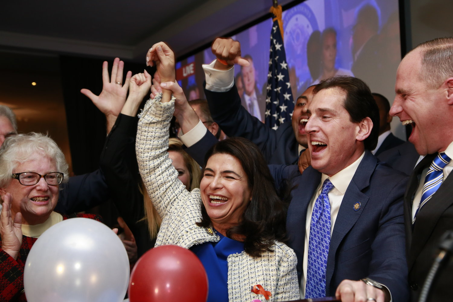 Anna Kaplan, with State Sen. Todd Kaminsky, was victorious in the 7th Senate District, defeating incumbent Elaine Phillips, and securing a Senate majority for Democrats.