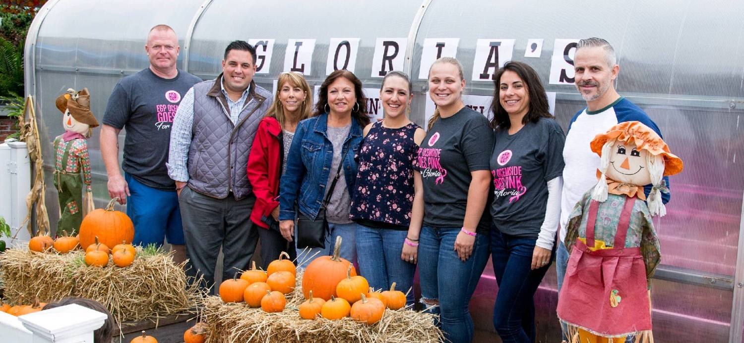 From left to right: EGP Oceanside owner Tim O'Hagan, left, Councilman Anthony D'Esposito, Assemblywoman Melissa Miller, Linda Kopsick. Gloria Basile, manager Brianna O'Hagan, manager Jackie Amato and Jeff Basile at the event.