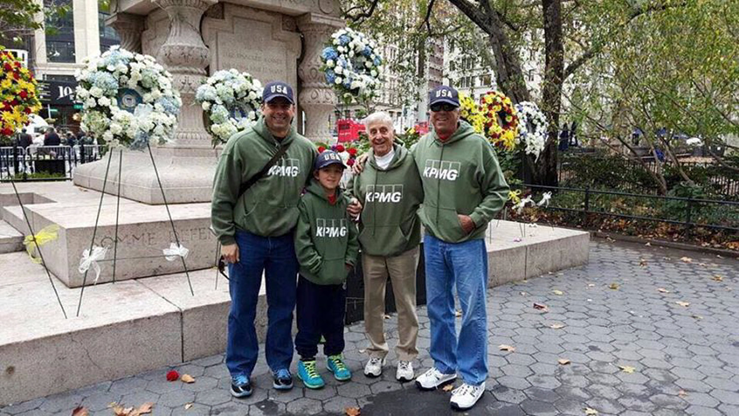 Pat Albarella, second from right, with his grandson Frankie Jr., far left, great-grandson Anthony and eldest son Frank at a recent New York City Veterans Day Parade. This year's parade will be the senior Albarella's fifth.