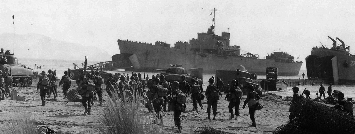 Elements of the U.S. Fifth Army at the beachhead at Salerno, Italy in September 1943. Albarella followed behind the initial landing as support infantry.