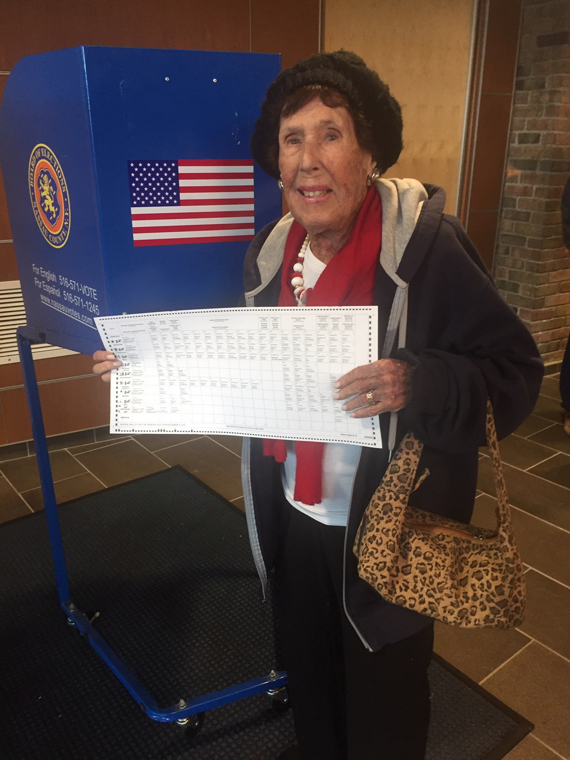Ruth Berk, a 104-year-old Lido Beach resident who was born before women could vote, cast her ballot at Long Beach High School Tuesday.