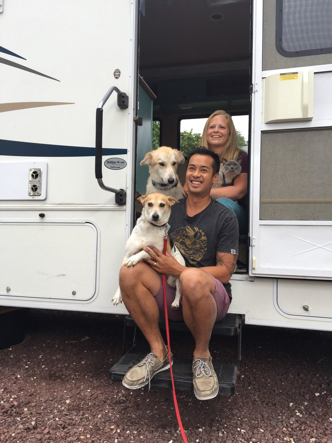 Kevin and Ashley will be traveling with their pets and a Jeep for easier on-site transportation. They began their journey on Oct. 29.