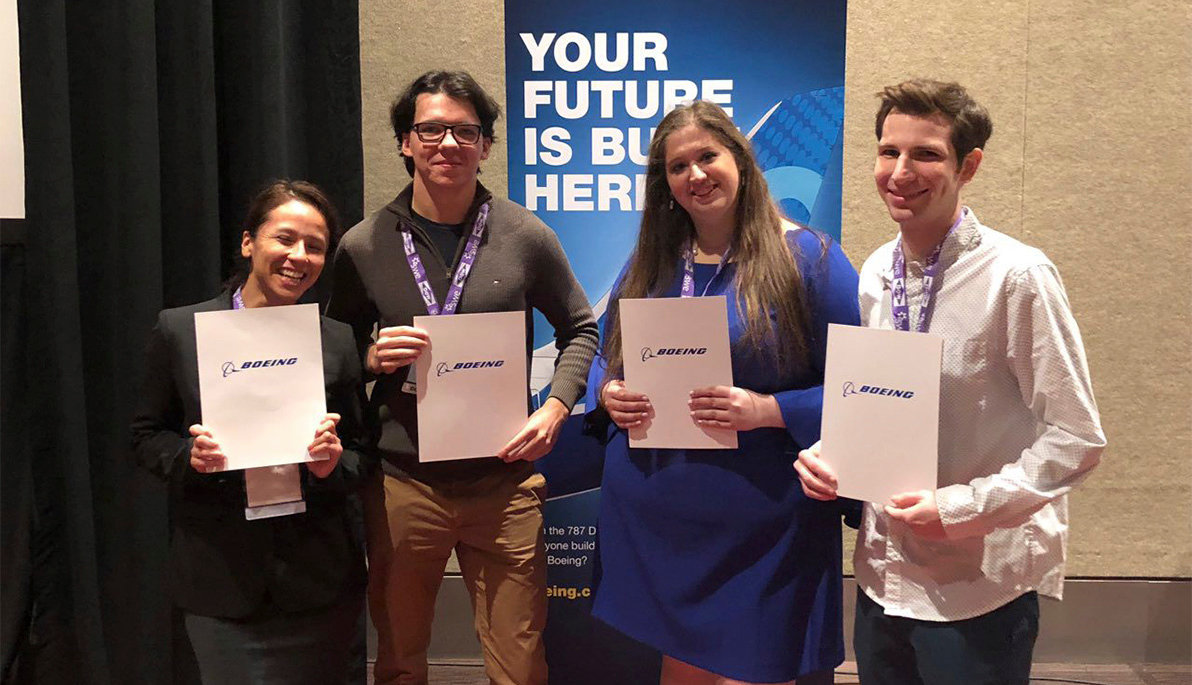 NYIT College of Engineering and Computing Sciences students, from left  Candy Barbaran, David Stachnik, Chaya Levin and Ariel Steinlauf, received job offers from Boeing at the Society of Women Engineers Conference last month.
