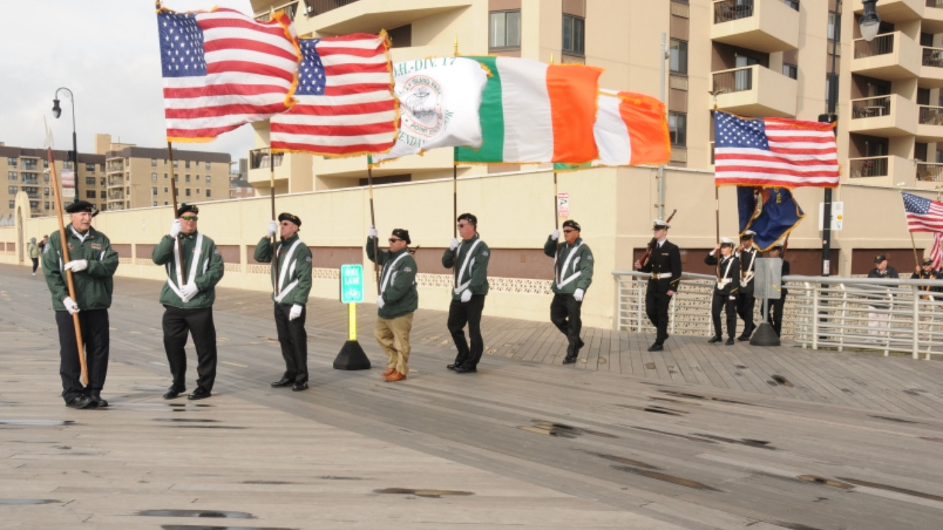 The Ancient Order of Hibernians Division 17 of Long Beach color guard marched at the ceremony.
