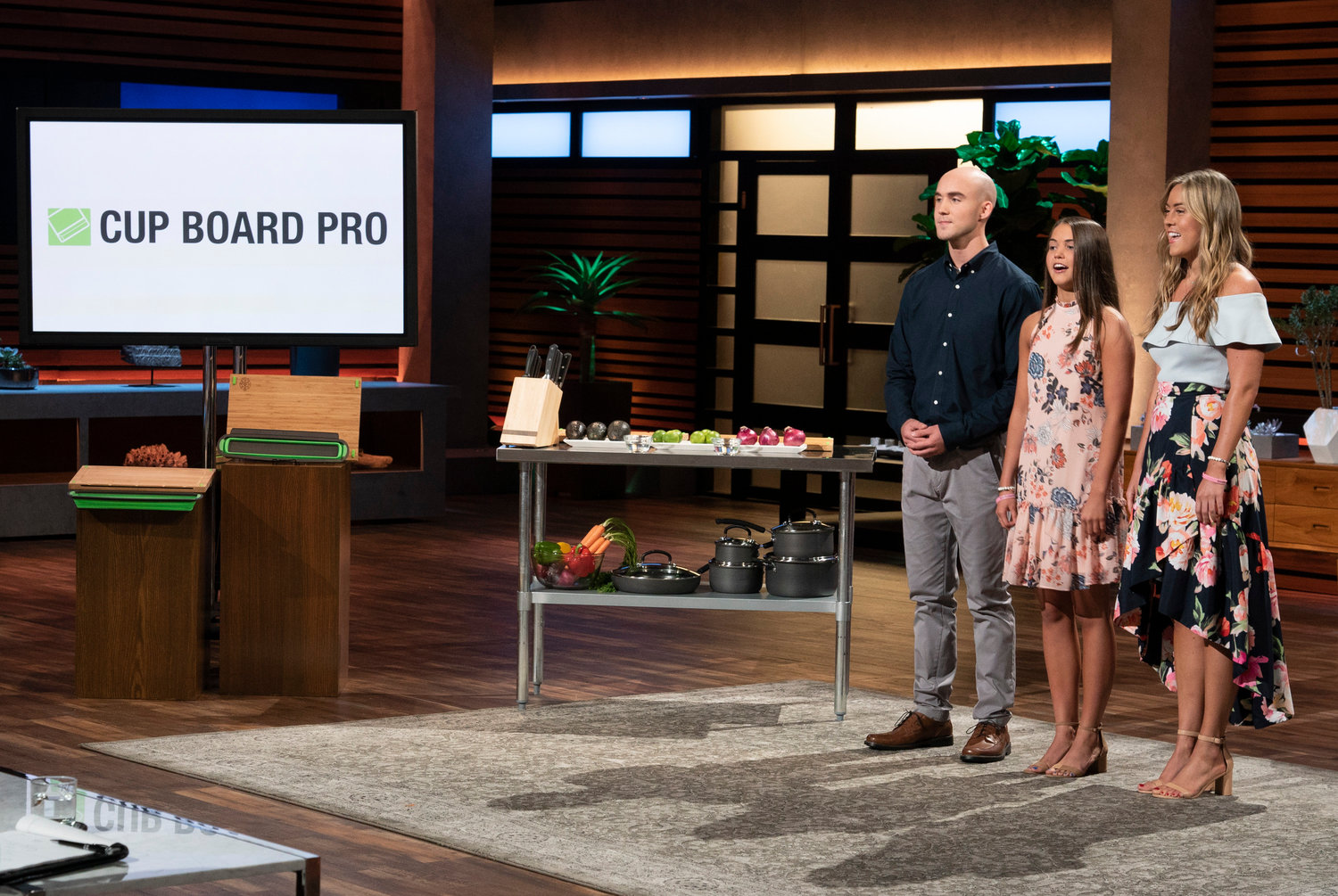"Siblings Kaley, Christian and Keira Young appeared on ""Shark Tank"" on Oct. 21 to present their father's product, the Cup Board Pro, to the ""sharks."""