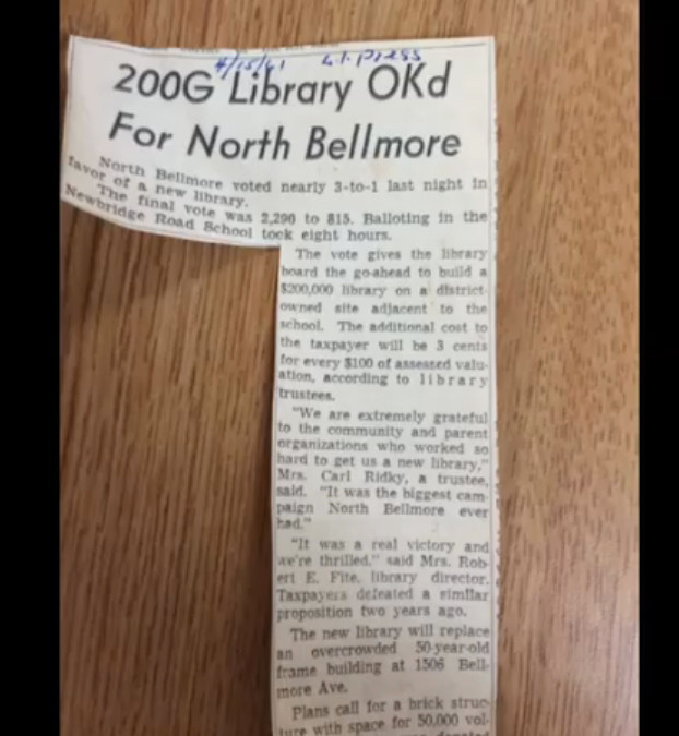 An April 15, 1961, news article from an unidentified paper reported that community members voted 2,290 to 815 in favor of a new library. Other articles in the time capsule indicated that there were those who strongly opposed the new building, and its $200,000 price tag.