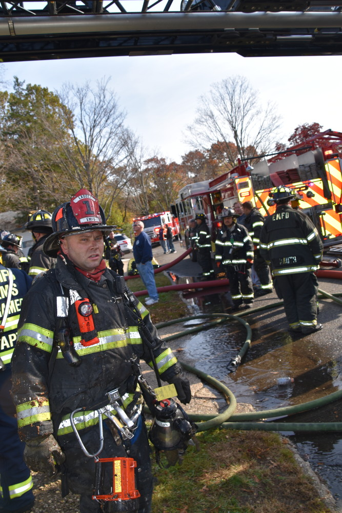 In all, more than 50 East Meadow volunteers responded to the fire, with another 25 responding on mutual aid from neighboring fire departments.