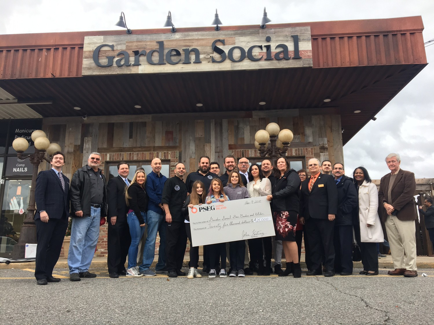 Because of their efforts to renovate the storefront and beautify the business district, Garden Social received two grants from PSEG Long Island totaling $25,000 and hundreds of dollars in rebates.