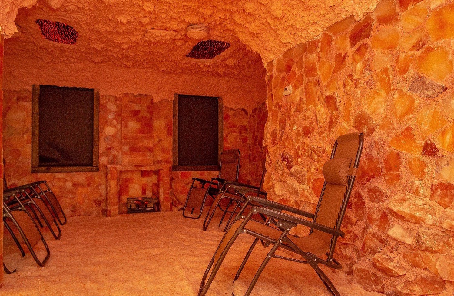 Clients are welcome to rent out this eight-person salt room for $250.