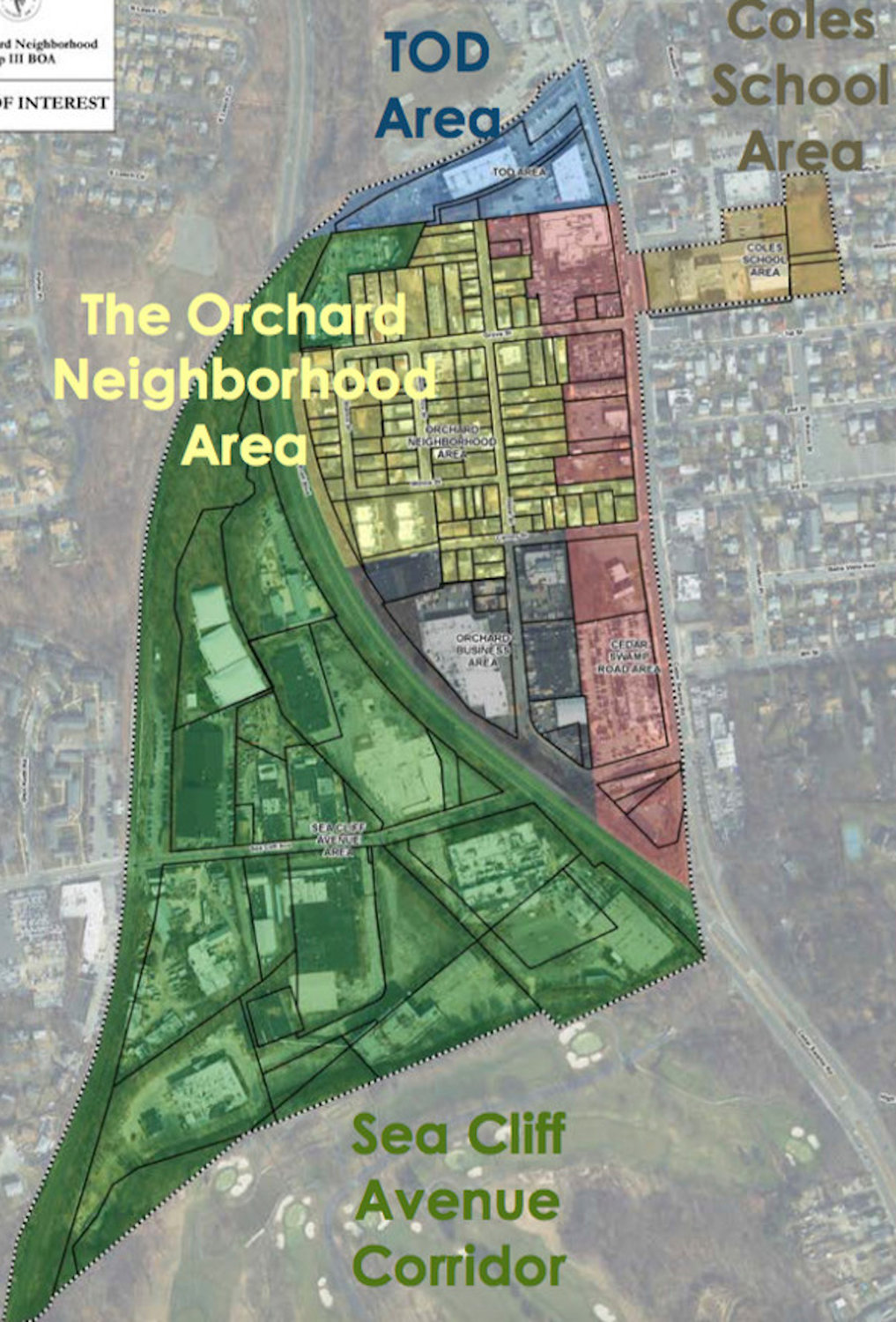 A map of the Brownfield Opportunity Area, broken up into six development zones, was presented at the meeting.