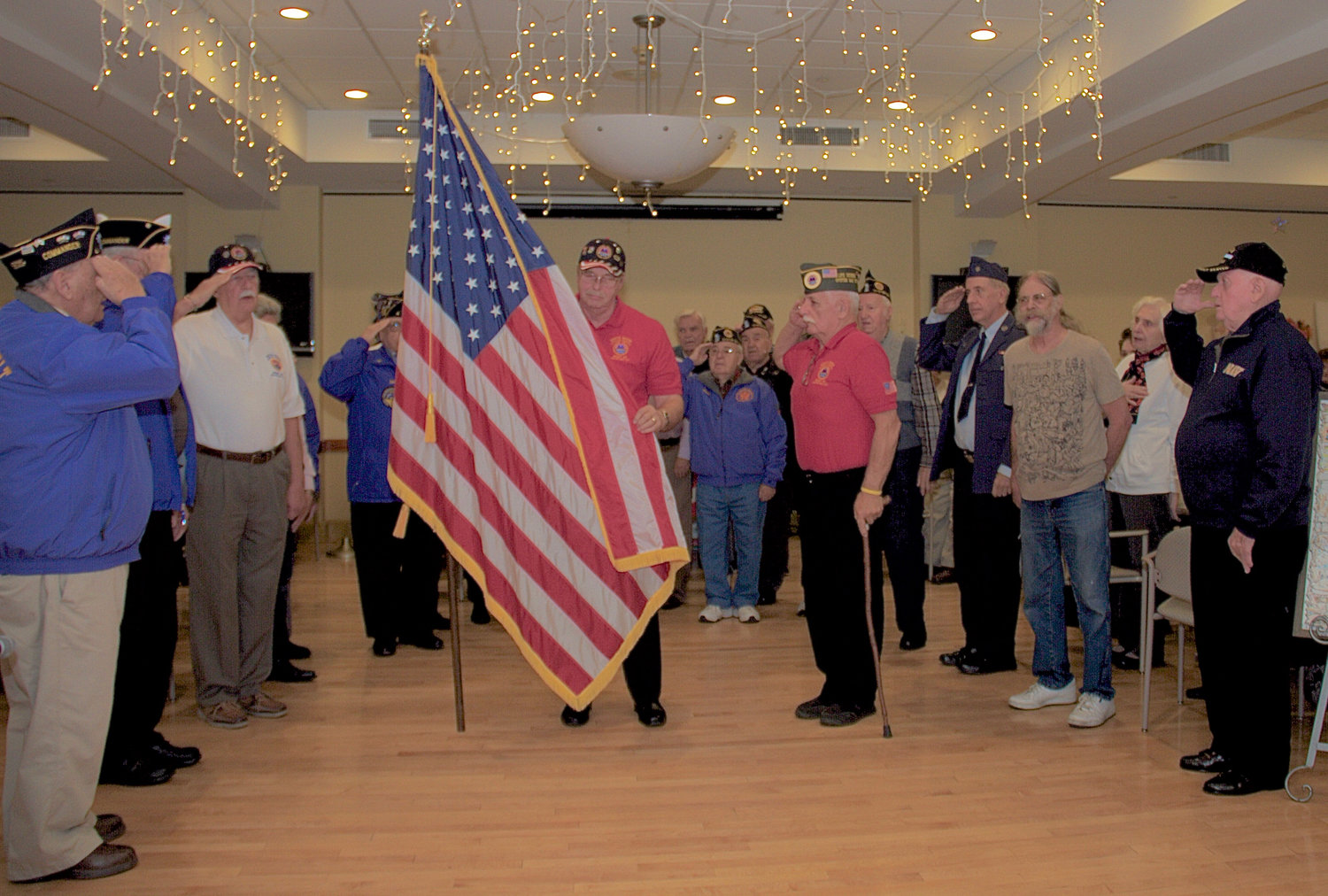 Members of Oyster Bay's American Legion, Veterans of Foreign Wars and American Veterans Association gathered at the Life Enrichment Center for a Veterans Day celebration.