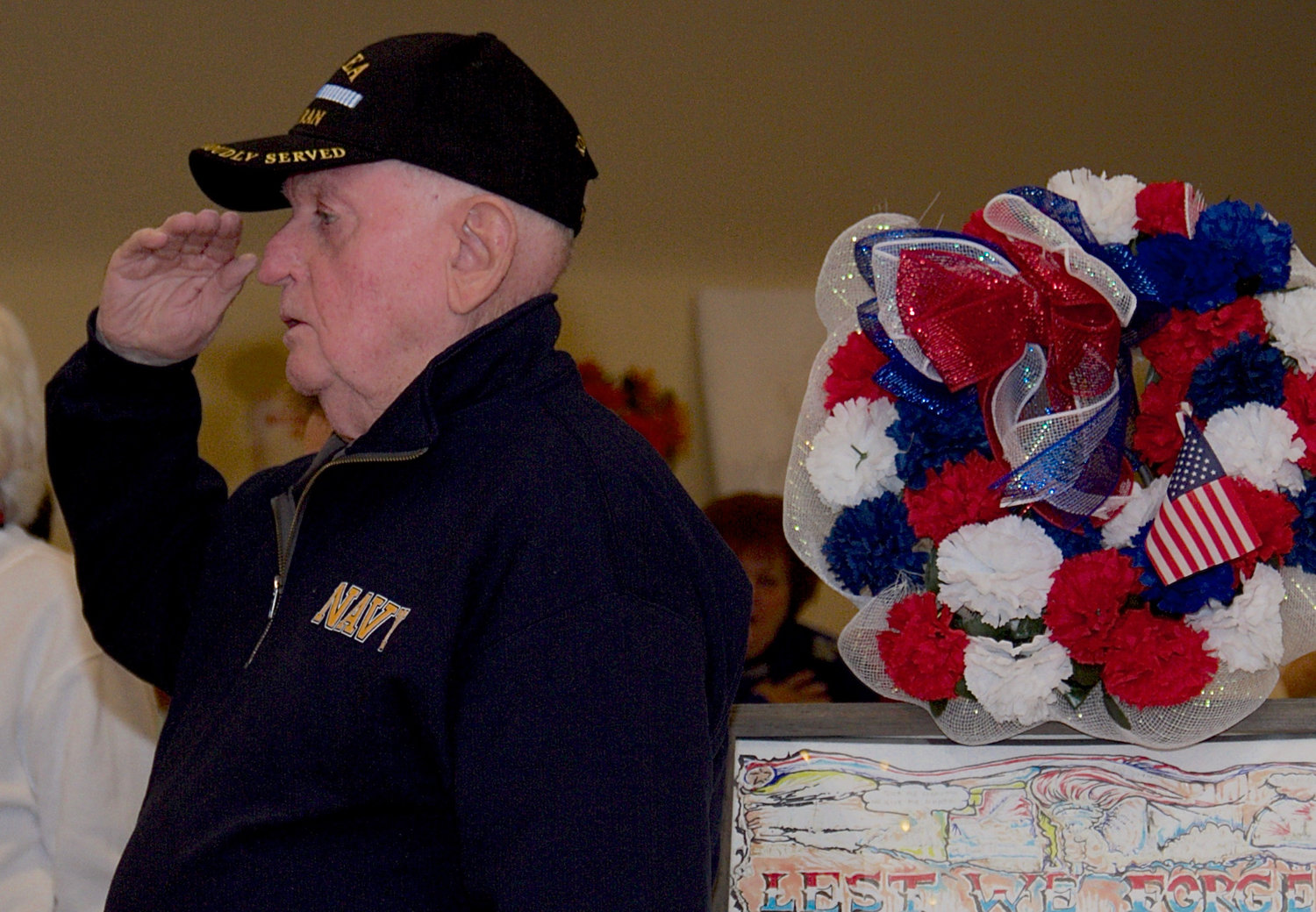 Navy veteran Charles Gibney came to the Veterans Day event at the senior center.