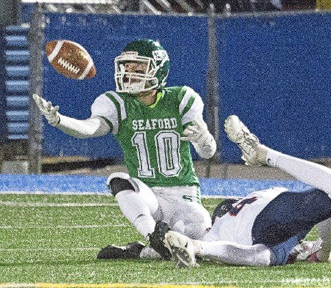Seaford's Jason Rebaudo hauled down a 10-yard touchdown pass in the fourth quarter of last Friday's 27-7 loss to Cold Spring Harbor in the Conference IV title game.