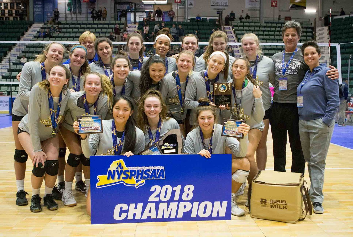 The Lady Marines capped a perfect season with a three-set win over Victor in the NYS Class AA final on Sunday in Glens Falls.