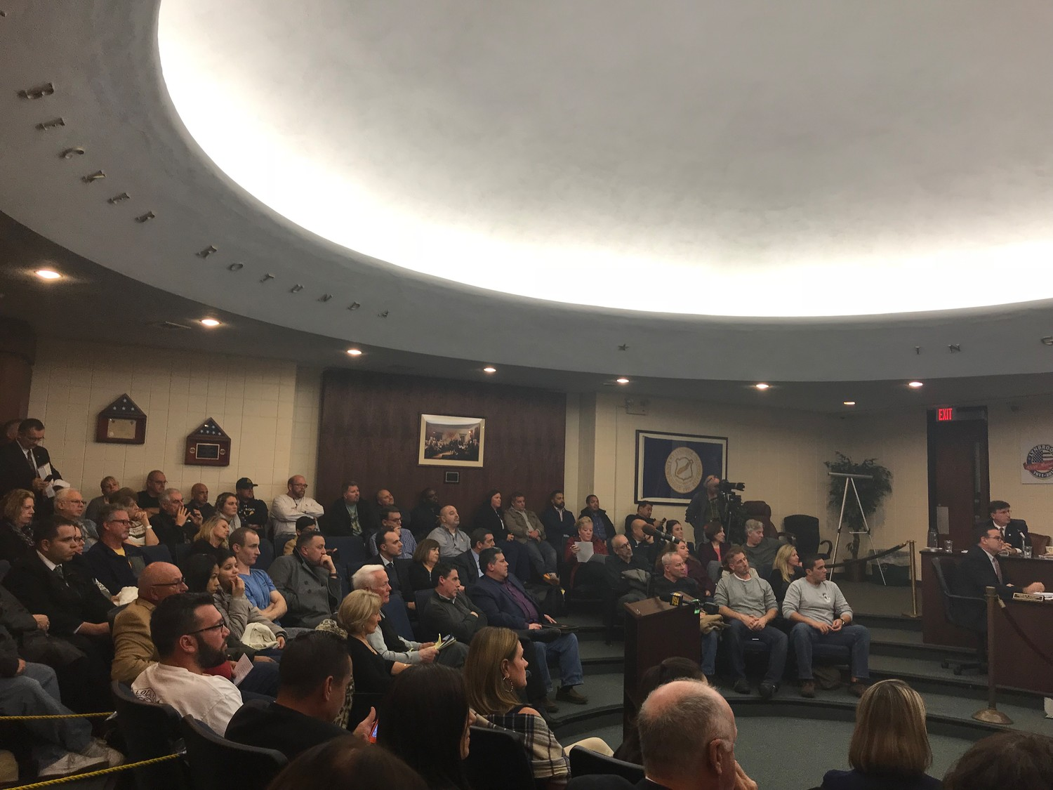 Dozens of residents came to Village Hall on Monday night, even though a public hearing about the project had been canceled days earlier.