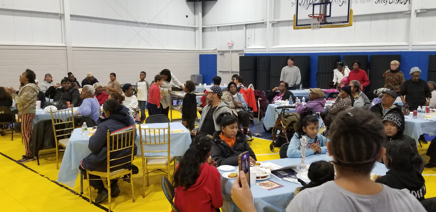 Hundreds of people gathered at the center for the community Thanksgiving dinner.