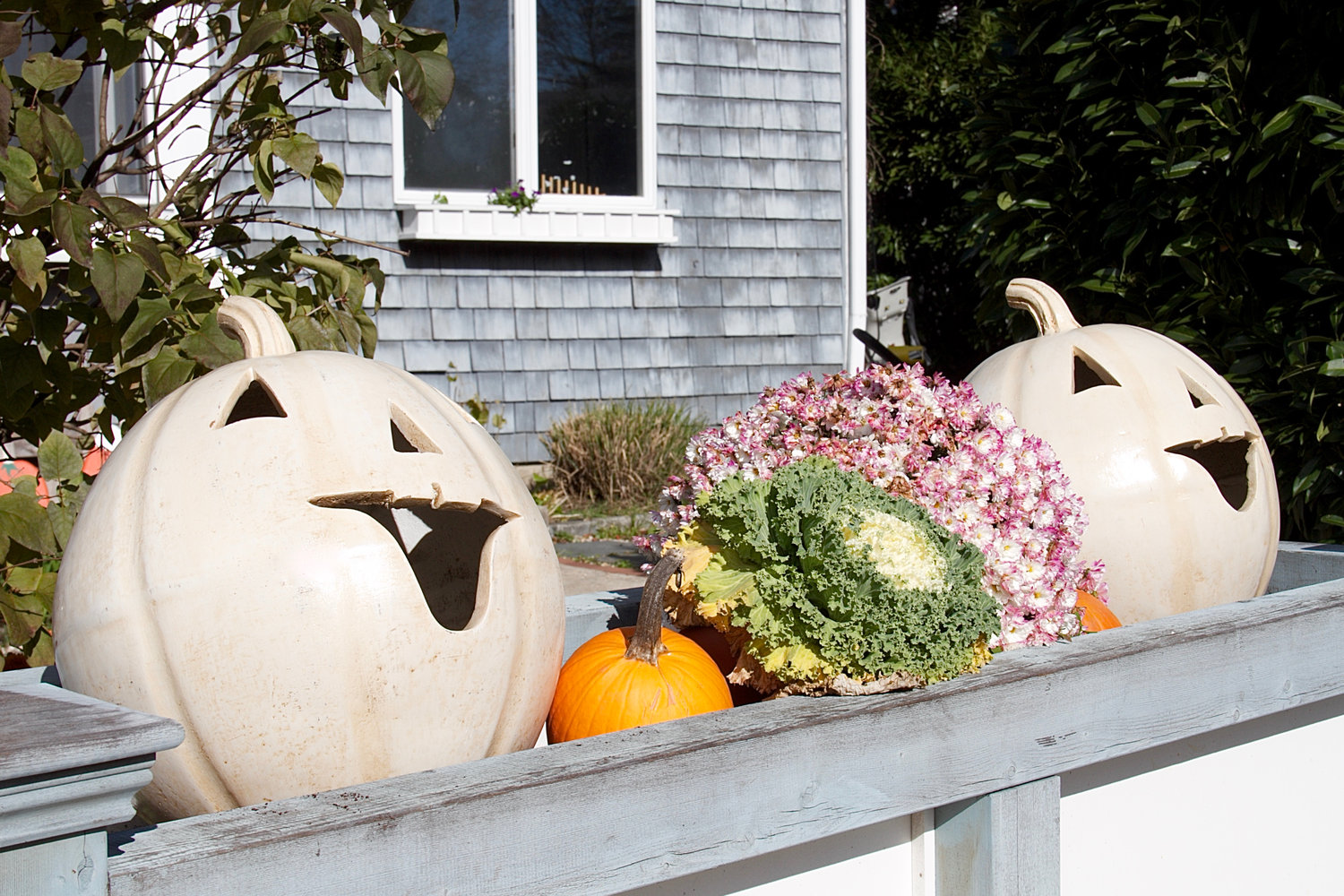 The happy pumpkins in this fall planter are still holding on to the last few days of fall.