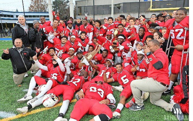 The Red Devils celebrated their second L.I. Class I title in three years and sixth overall after holding off William Floyd, 20-19, at Hofstra.